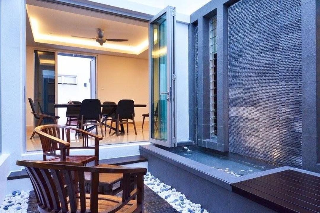 Villa Aseana, Mega Fusion Design Studio, Minimalistic, Garden, Landed, Airwell, Chair, Furniture, Dining Table, Table, Indoors, Interior Design, Room, Bench