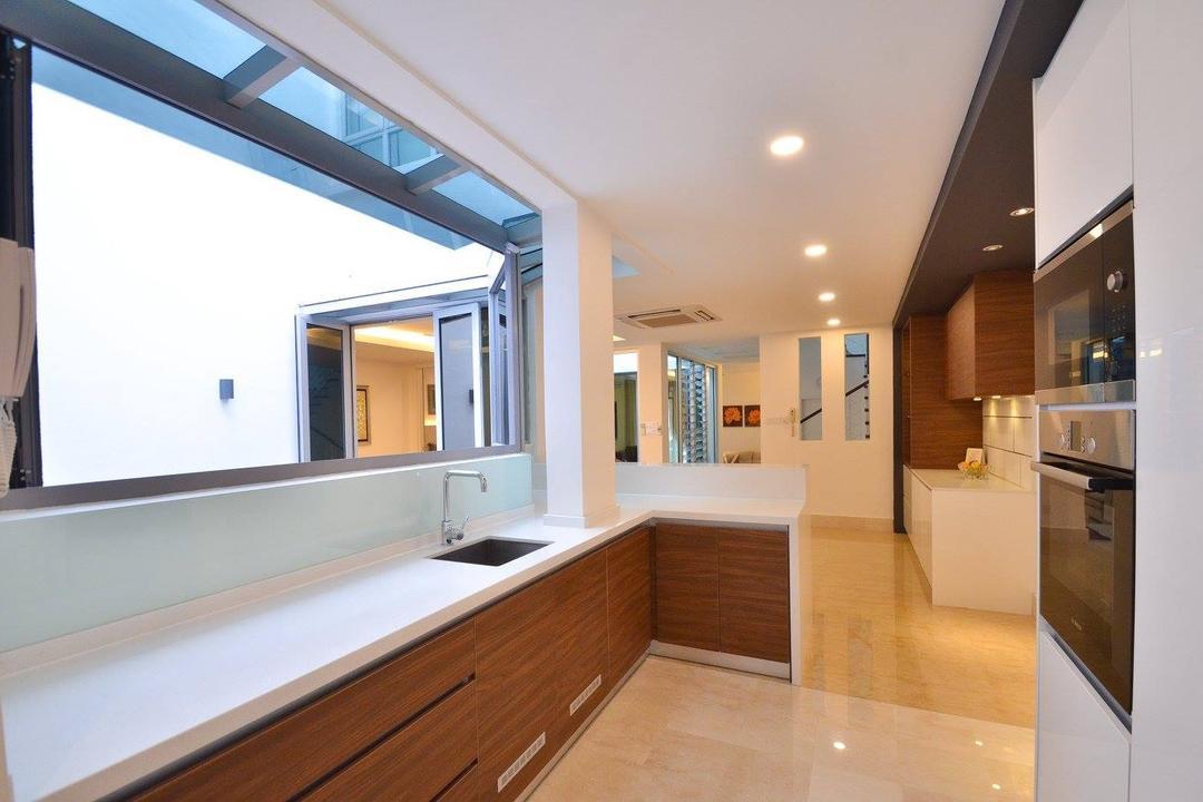 Villa Aseana, Mega Fusion Design Studio, Minimalistic, Kitchen, Landed, Indoors, Interior Design, Flooring, Awning, Canopy