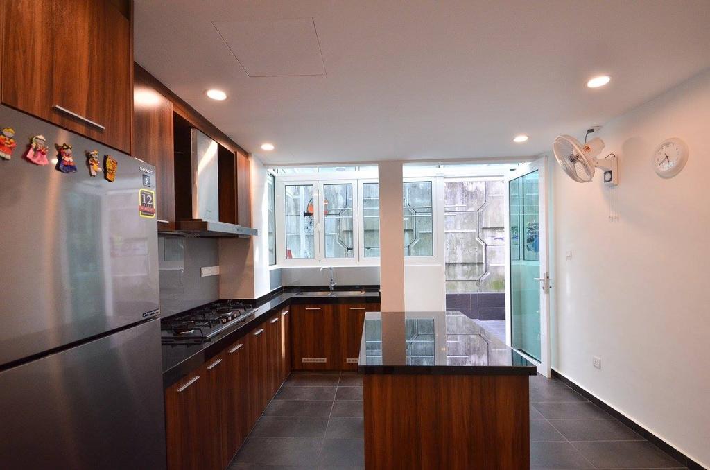 Minimalist, Landed, Kitchen, Villa Aseana, Interior Designer, Mega Fusion Design Studio, Appliance, Electrical Device, Oven, Flooring