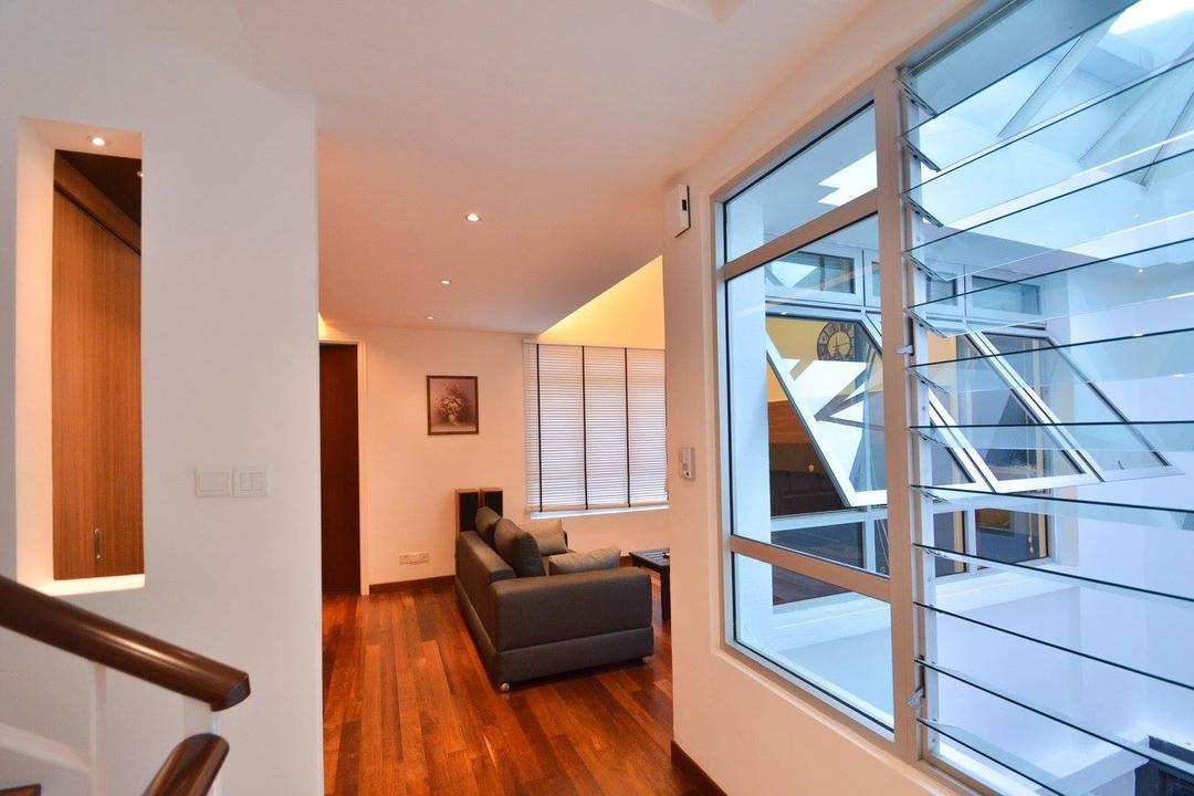 Villa Aseana, Mega Fusion Design Studio, Minimalistic, Living Room, Landed, Banister, Handrail, Couch, Furniture, Indoors, Interior Design