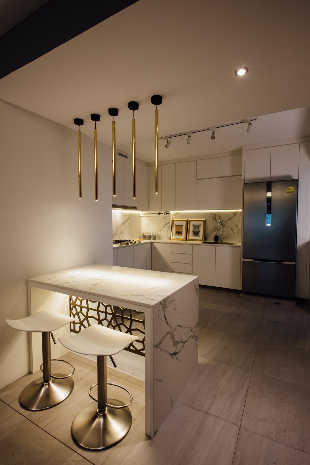 Contemporary, HDB, Kitchen, Tampines Street 72, Interior Designer, Fatema Design Studio, Chair, Furniture, Indoors, Interior Design, Room, Plywood, Wood