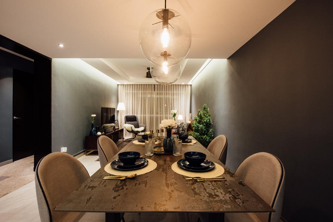 Tampines Street 72, Fatema Design Studio, Contemporary, HDB, Dining Room, Indoors, Interior Design, Room, Chair, Furniture, Light Fixture, Dining Table, Table, Tabletop