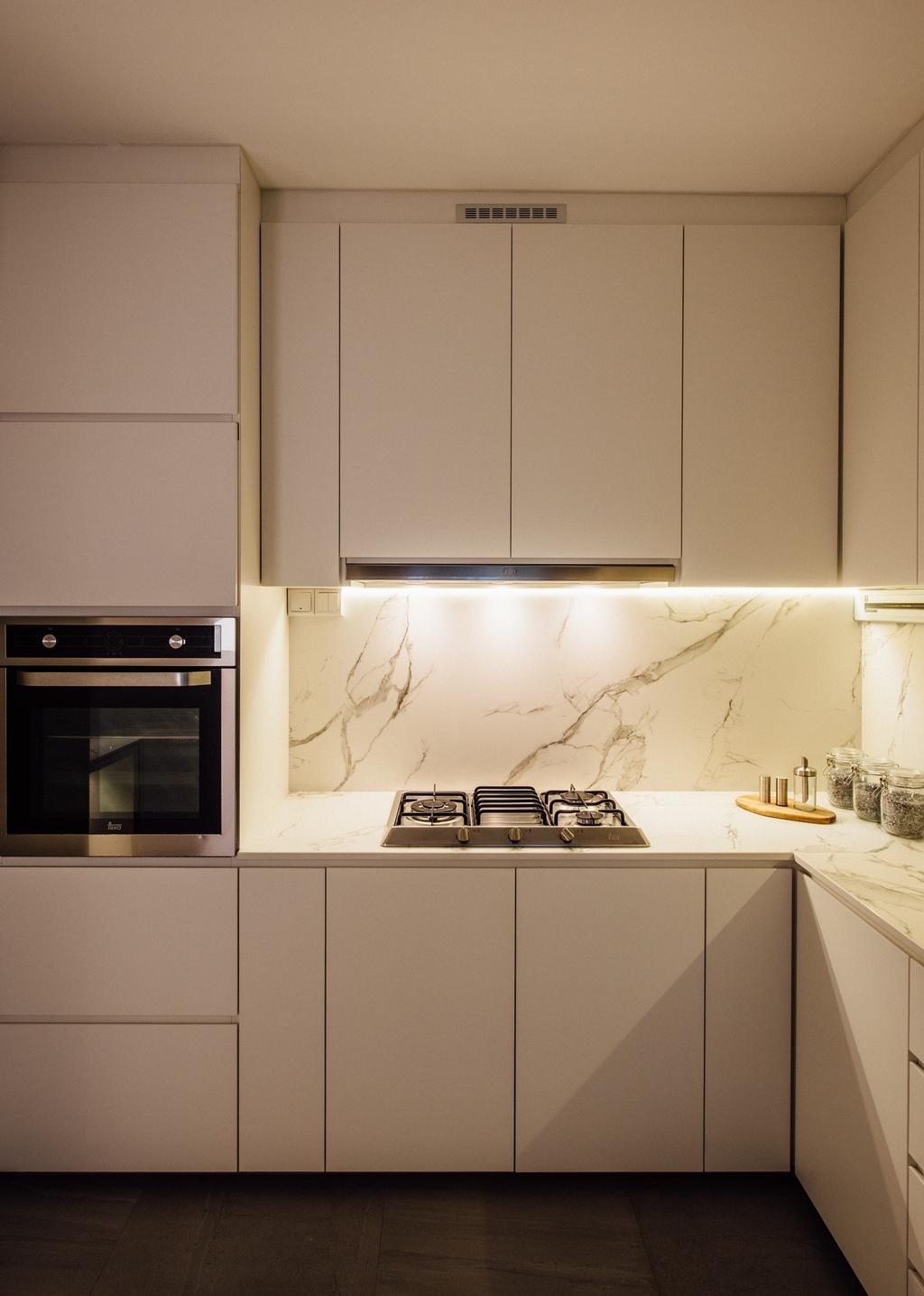 Contemporary, HDB, Kitchen, Tampines Street 72, Interior Designer, Fatema Design Studio, Sink, Appliance, Electrical Device, Microwave, Oven, Indoors, Interior Design, Room