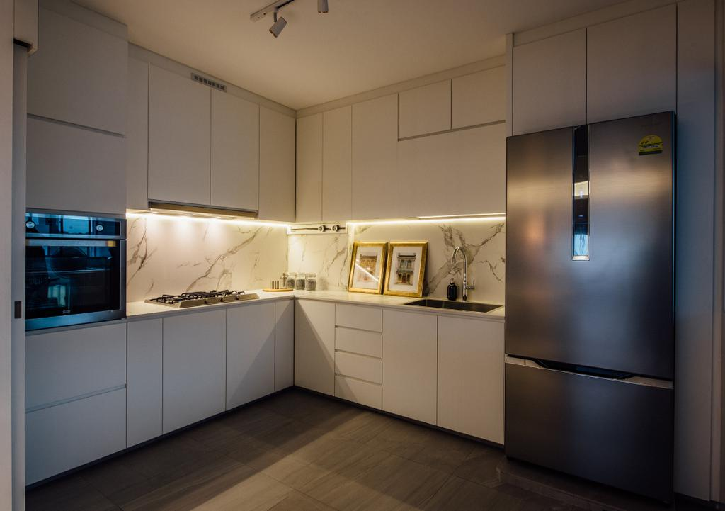 Contemporary, HDB, Kitchen, Tampines Street 72, Interior Designer, Fatema Design Studio, Appliance, Electrical Device, Oven, Indoors, Interior Design, Room