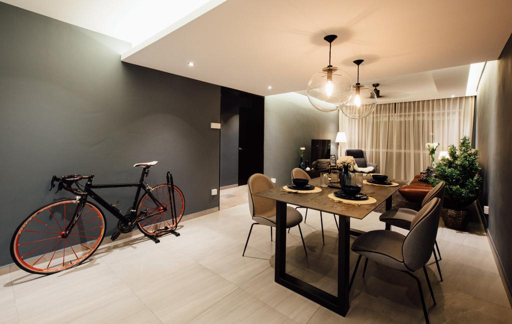 Contemporary, HDB, Dining Room, Tampines Street 72, Interior Designer, Fatema Design Studio, Flora, Jar, Plant, Potted Plant, Pottery, Vase, Bicycle, Bike, Transportation, Vehicle, Chair, Furniture, Indoors, Interior Design, Room, Dining Table, Table