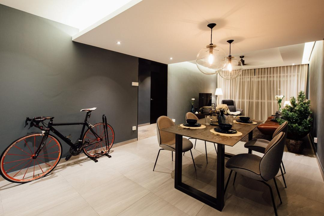 Tampines Street 72, Fatema Design Studio, Contemporary, Dining Room, HDB, Flora, Jar, Plant, Potted Plant, Pottery, Vase, Bicycle, Bike, Transportation, Vehicle, Chair, Furniture, Indoors, Interior Design, Room, Dining Table, Table