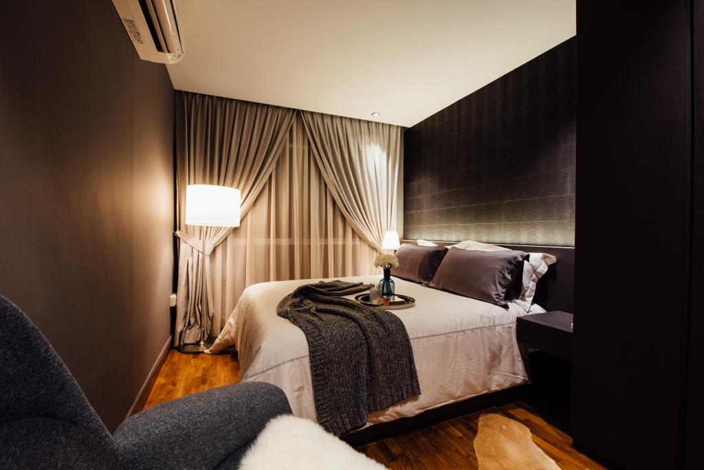 Contemporary, HDB, Bedroom, Tampines Street 72, Interior Designer, Fatema Design Studio, Bed, Furniture, Indoors, Interior Design, Room