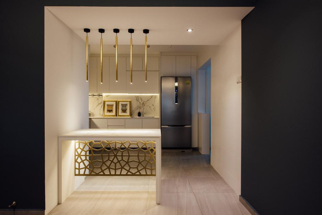 Contemporary, HDB, Kitchen, Tampines Street 72, Interior Designer, Fatema Design Studio, Indoors, Interior Design, Elevator, Building, Housing, Loft