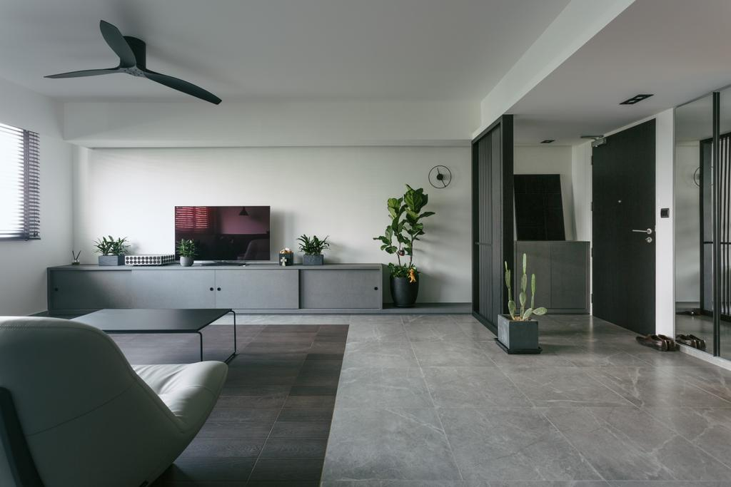 Contemporary, HDB, Living Room, Punggol Waterway Terraces, Interior Designer, Habit, Monochrome, Open Layout, Open Concept, Grey, Gray, Chair, Furniture, Propeller, Flooring, Sideboard, Indoors, Room