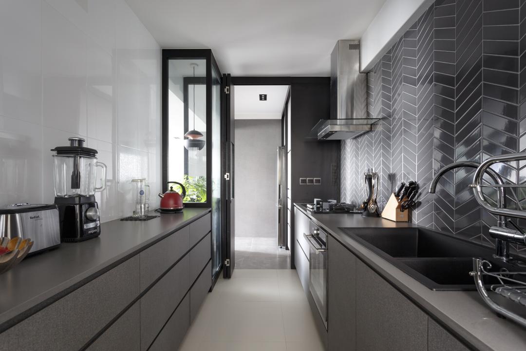 Punggol Waterway Terraces, Habit, Contemporary, Kitchen, HDB, Galley Kitchen, Graphic Wall, Chimney Hood, Open Kitchen, Corridor, Window