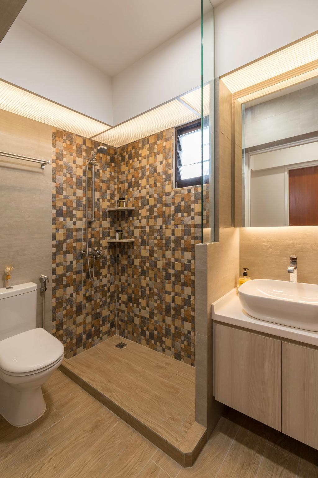 Scandinavian, HDB, Fernvale Link (Block 418C), Interior Designer, Starry Homestead, Sink, Toilet, Bathroom, Indoors, Interior Design, Room, Architecture, Building, Skylight, Window