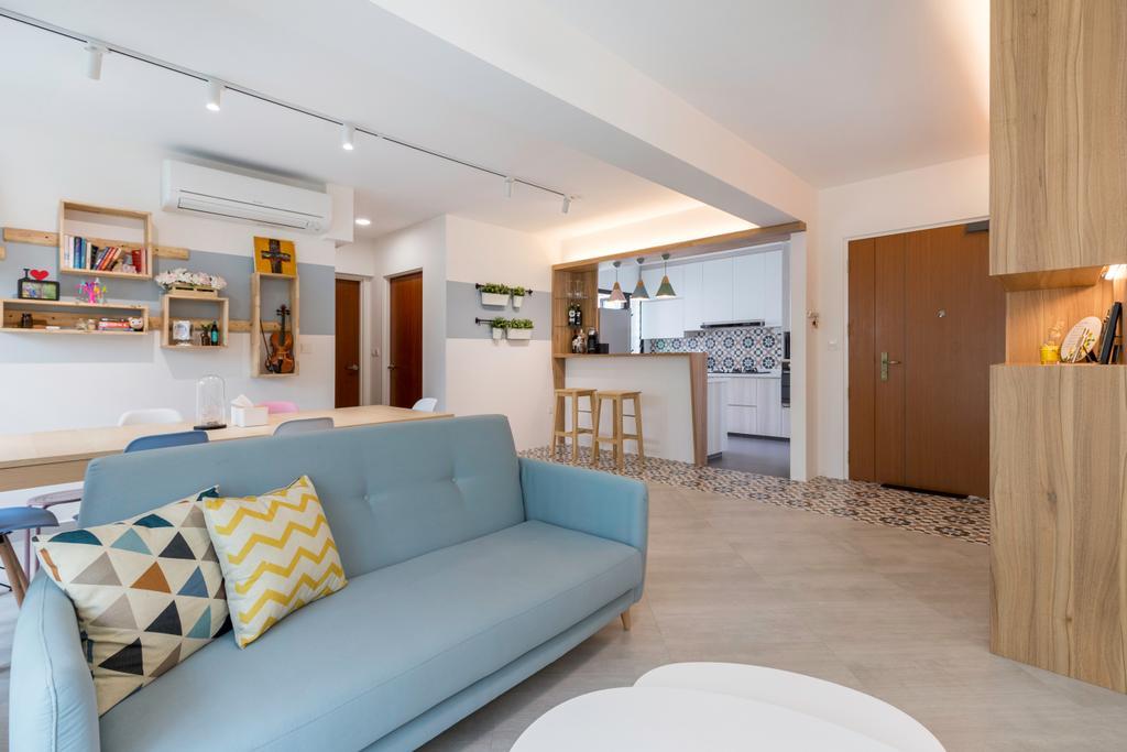 Scandinavian, HDB, Living Room, Fernvale Link (Block 418C), Interior Designer, Starry Homestead, Couch, Furniture, Shelf, Indoors, Interior Design