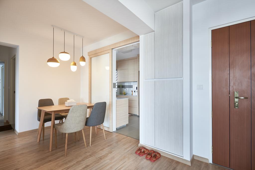 Scandinavian, HDB, Dining Room, Yung Kuang Road, Interior Designer, Inclover Design, Dining Table, Furniture, Table, Flooring, Light Fixture