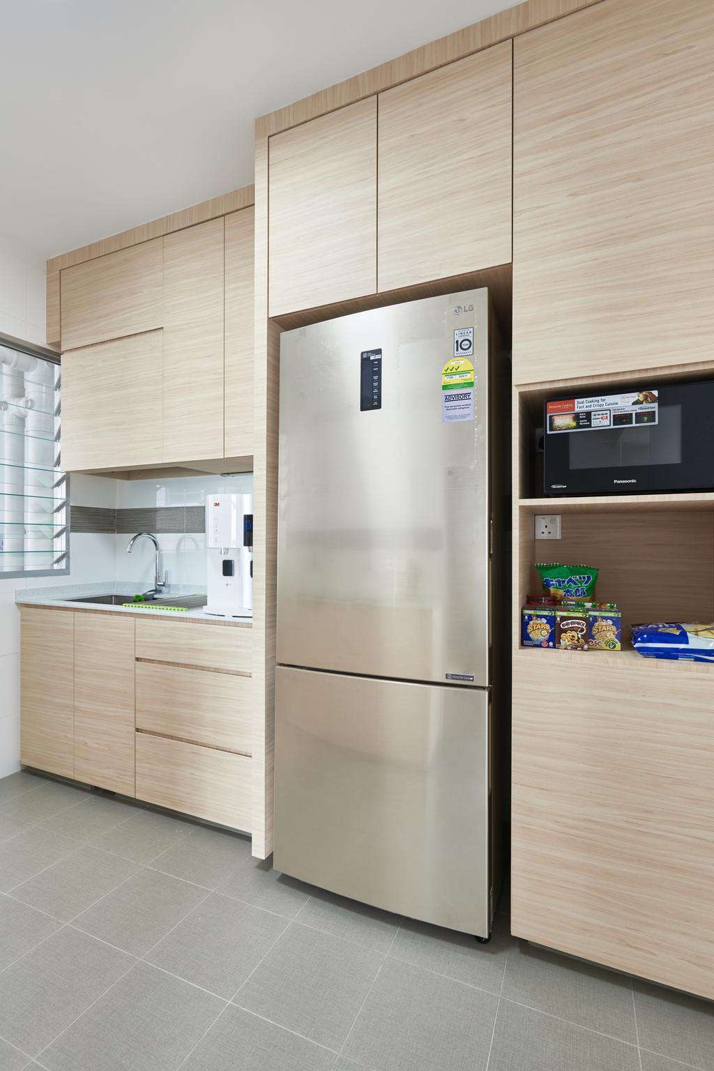Scandinavian, HDB, Kitchen, Yung Kuang Road, Interior Designer, Inclover Design, Appliance, Electrical Device, Fridge, Refrigerator