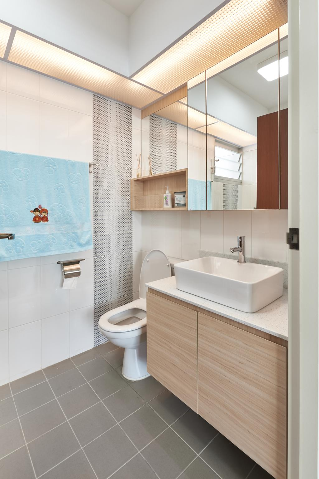 Scandinavian, HDB, Bathroom, Yung Kuang Road, Interior Designer, Inclover Design, Indoors, Interior Design, Room
