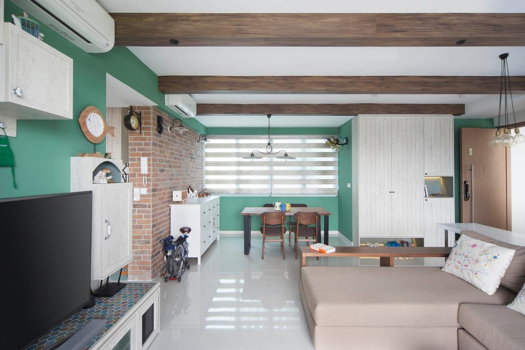Q Bay Residences, Prozfile Design, Contemporary, Living Room, Condo, Clock, Wall Clock, Indoors, Interior Design