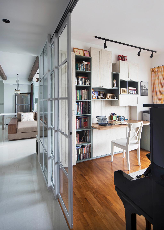 Contemporary, Condo, Study, Q Bay Residences, Interior Designer, Prozfile Design, Bookcase, Furniture, Dining Table, Table