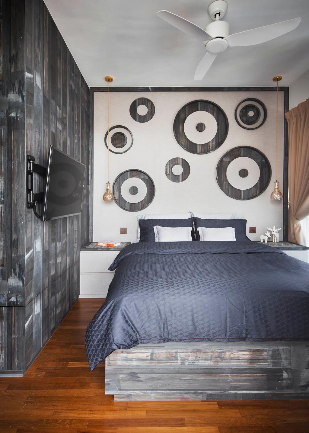 Contemporary, Condo, Bedroom, Q Bay Residences, Interior Designer, Prozfile Design, Indoors, Interior Design, Room, Electronics, Loudspeaker, Speaker