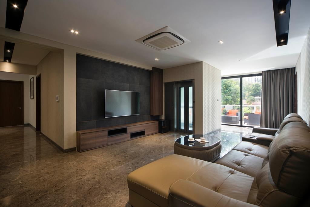 Modern, Landed, Living Room, Jalan Mutiara, Interior Designer, Prozfile Design, Contemporary, Couch, Furniture, Electronics, Entertainment Center, Home Theater, Indoors, Room