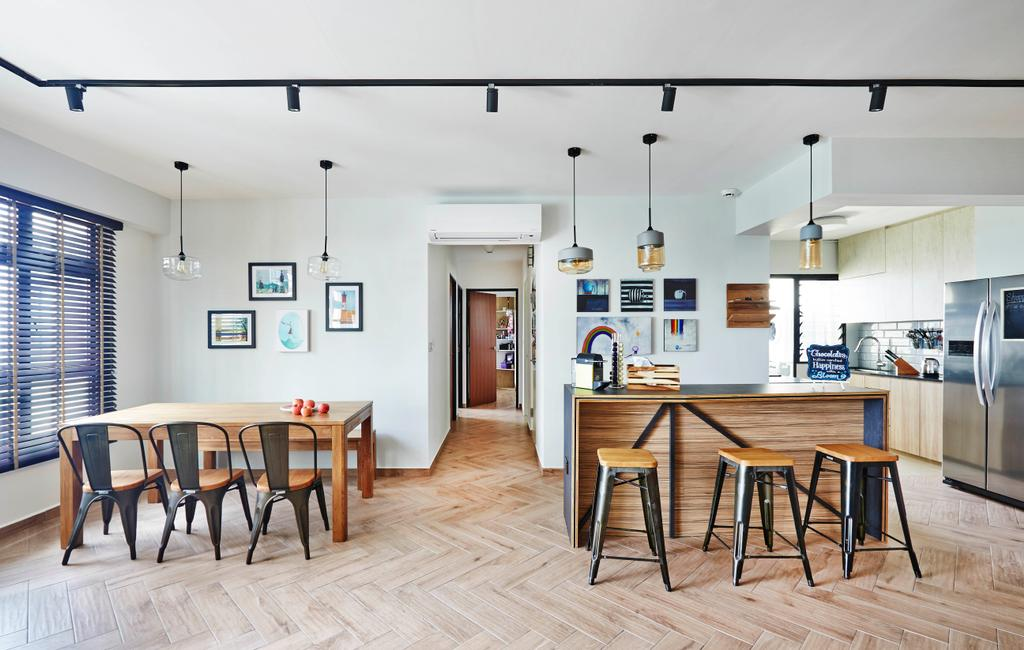 Industrial, HDB, Dining Room, Fernvale Street, Interior Designer, Fuse Concept, Dining Table, Metal Chair, Dining Lights, Bar Top, Bar Stool, Island Table, Dry Kitchen, Hanging Lights, Wooden Floor, Wood Floor, Blinds, Furniture, Table, Chair, Indoors, Interior Design, Room