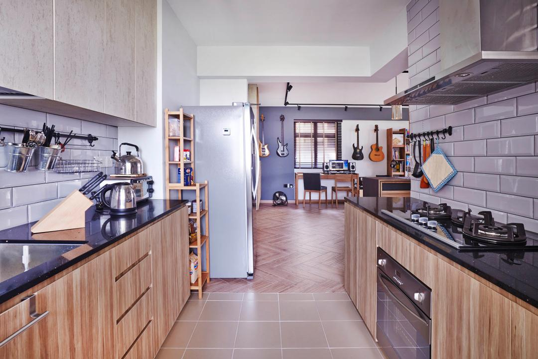 Fernvale Street, Fuse Concept, Industrial, Kitchen, HDB, Laminate, Cabinets, Drawers, Granite, Tiles, Oven, Wall Tiles, Stove, Hood, Indoors, Interior Design, Room