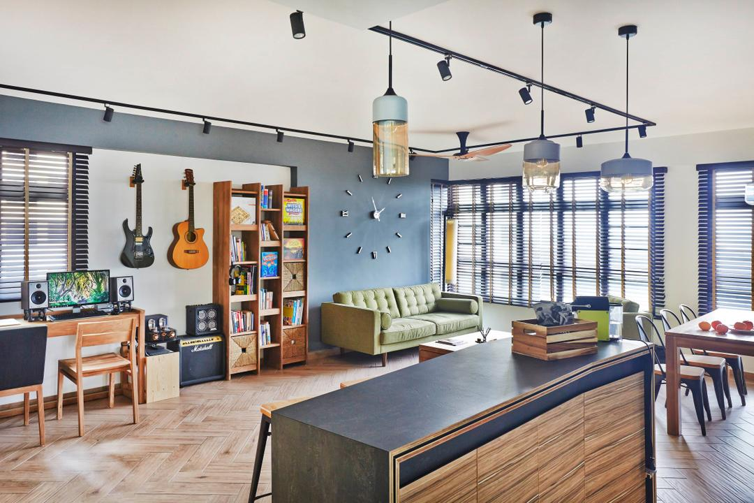Fernvale Street, Fuse Concept, Industrial, Living Room, HDB, Guitar, Wall Clock, Clock, Book Shleves, Sofa, Island Table, Bar Top, Hanging Light, Track Lights, Study Desk, Chairs, Wood Floor, Blinds, Dining Table, Furniture, Table, Indoors, Interior Design, Dining Room, Room