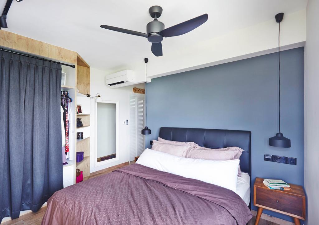 Industrial, HDB, Bedroom, Fernvale Street, Interior Designer, Fuse Concept, Ceiling Fan, Bed Frame, Bed Side Light, Hanging Light, Wardrobe, Curtain, Indoors, Interior Design, Room