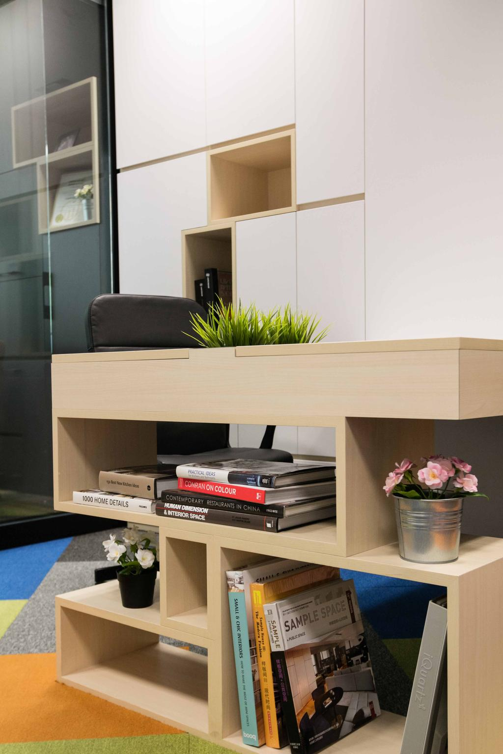 Schema Craft Interior Design Office, Commercial, Interior Designer, Schemacraft, Contemporary, Shleving, Table, Carpet, Flora, Jar, Plant, Potted Plant, Pottery, Vase, Coffee Table, Furniture, Couch