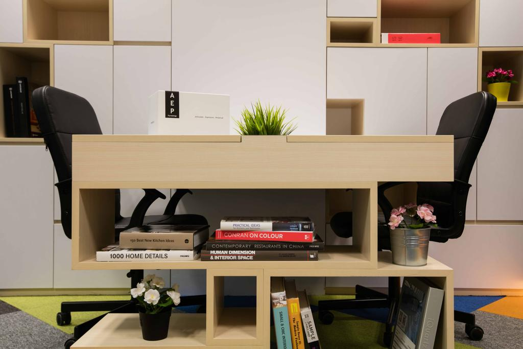 Schema Craft Interior Design Office, Commercial, Interior Designer, Schemacraft, Contemporary, Table, Chairs, Cabinets, Flora, Jar, Plant, Planter, Potted Plant, Pottery, Vase, Chair, Furniture, Desk