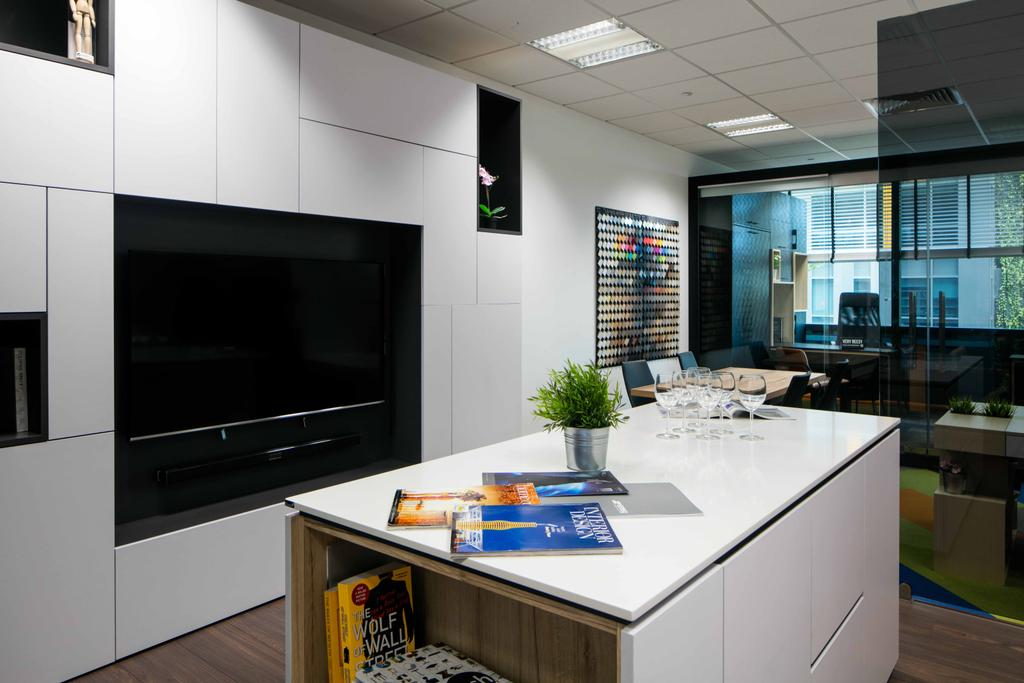 Schema Craft Interior Design Office, Commercial, Interior Designer, Schemacraft, Contemporary, Tv, Feature Wall, Cabinets, Island, Island Table, Flora, Jar, Plant, Potted Plant, Pottery, Vase, Indoors, Interior Design, Kitchen, Room