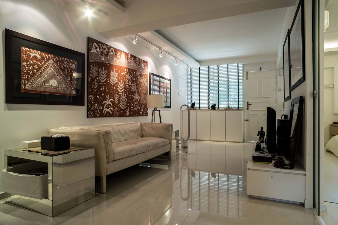 Holland Avenue, Schemacraft, Contemporary, Living Room, HDB, White, Sofa, Coffee Table, Side Tale, Tv Console, Marble, Tiles, Glossy Surface, Art, Couch, Furniture