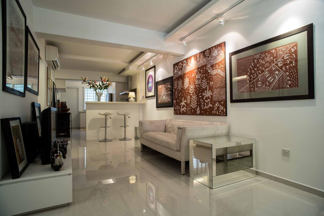 Holland Avenue, Schemacraft, Contemporary, Living Room, HDB, Marble, Sofa, Coffee Table, Tv Console, Track Light, Bar Stool, Bar Top, White, Art, Art Gallery