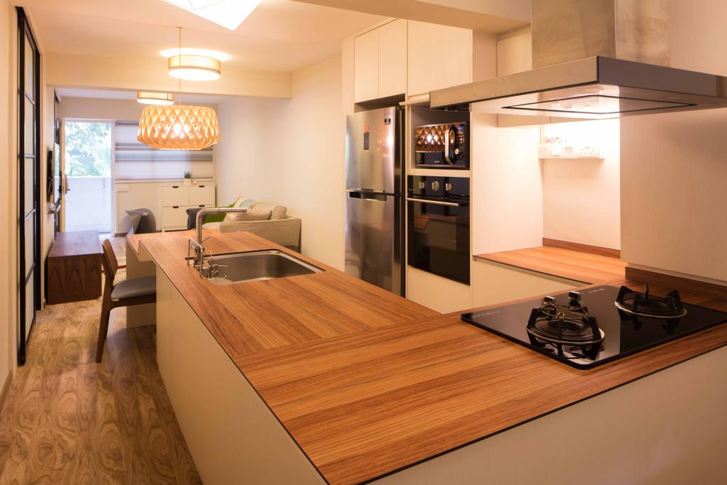 Minimalistic, HDB, Dining Room, Geylang Bahru, Interior Designer, Schemacraft, Dry Kitchen, Hood, Stove, Open Kithchen, Chair, Sink, Sliding Door, Fridge, Oven, Appliance, Electrical Device, Couch, Furniture, Hardwood, Wood, Indoors, Interior Design, Dining Table, Table