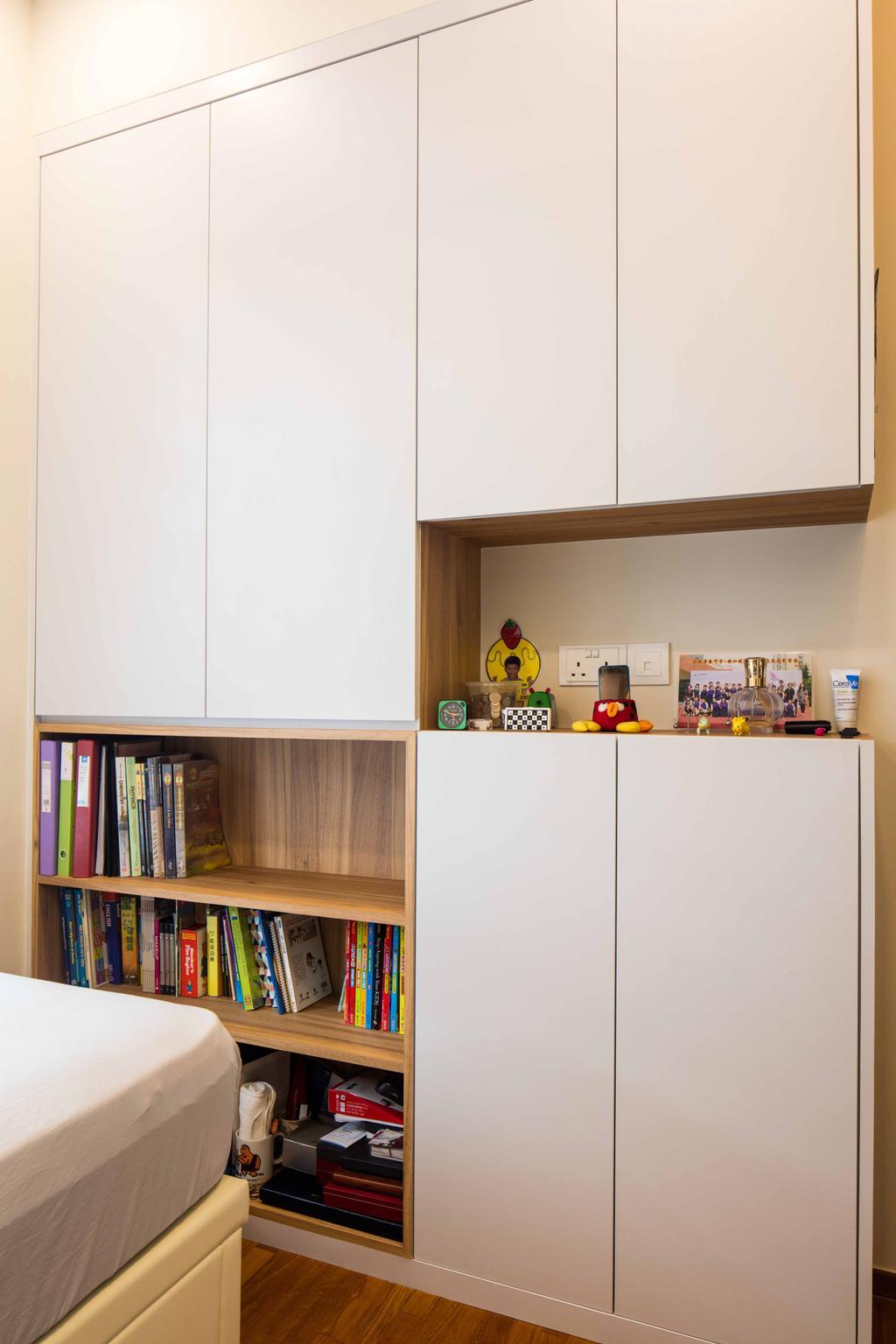 Scandinavian, Condo, Bedroom, Foresque Residences, Interior Designer, Schemacraft, Shelving, Book Shelf, Parquet, Cabinets, Bookcase, Furniture, Appliance, Electrical Device, Fridge, Refrigerator, Shelf