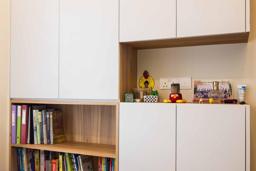 Foresque Residences, Schemacraft, Scandinavian, Bedroom, Condo, Shelving, Book Shelf, Parquet, Cabinets, Bookcase, Furniture, Appliance, Electrical Device, Fridge, Refrigerator, Shelf