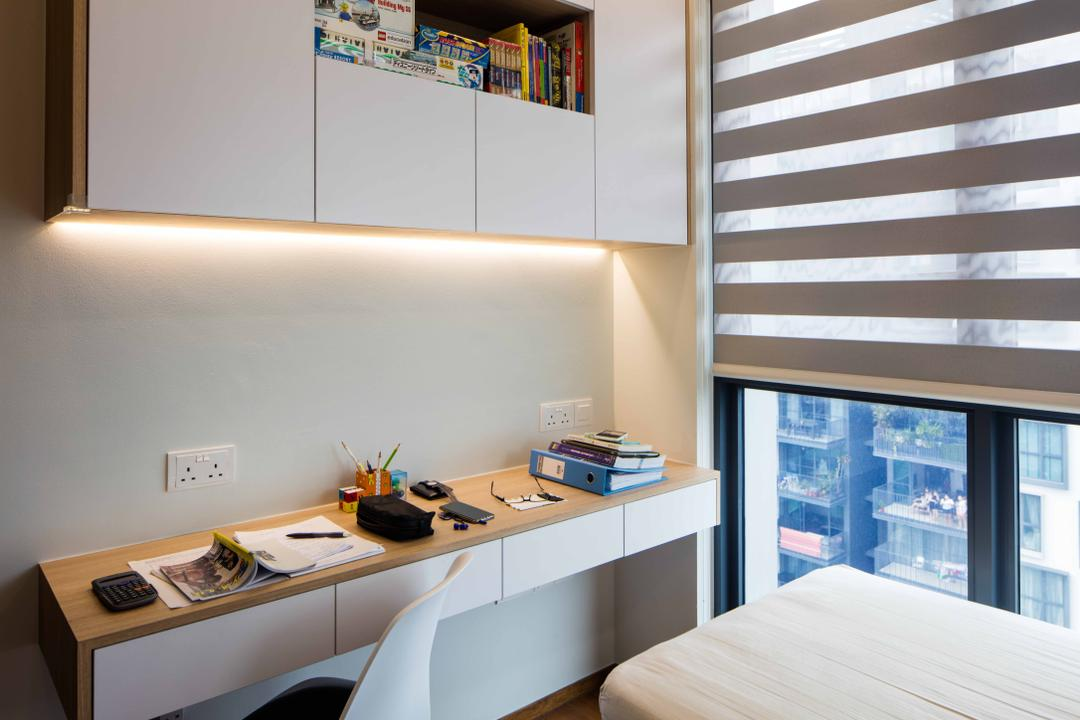 Foresque Residences, Schemacraft, Scandinavian, Study, Condo, Study Desk, Cove Light, Shleving, Book Shelf, Blinds, Chairs, Desk, Furniture, Table, HDB, Building, Housing, Indoors, Bedroom, Interior Design, Room