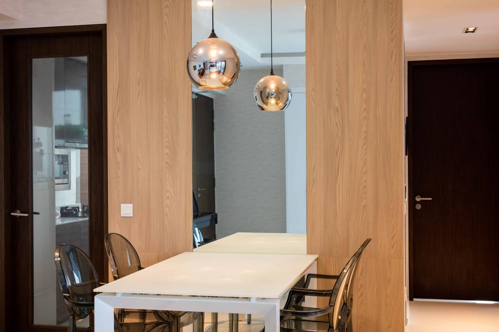 Scandinavian, Condo, Dining Room, Foresque Residences, Interior Designer, Schemacraft, Hanging Light, Dining Table, Dining Chair, Tiles, Banister, Handrail, Indoors, Interior Design, Room, Plywood, Wood