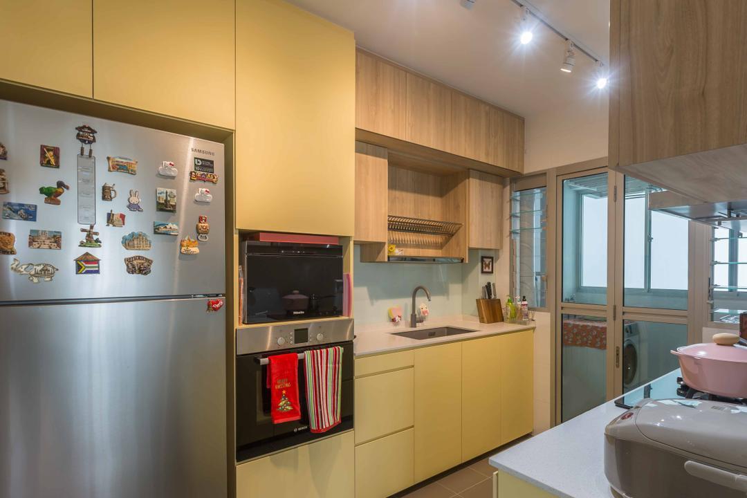 Jalan Tenteram, DB Studio, Modern, Contemporary, Kitchen, HDB, Appliance, Electrical Device, Fridge, Refrigerator, Oven, Luggage, Suitcase, Indoors, Interior Design, Room