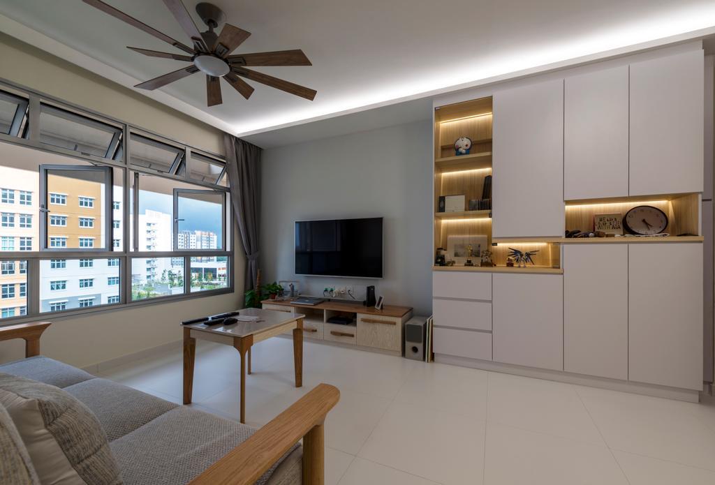 Scandinavian, HDB, Living Room, Canberra Crescent, Interior Designer, Project Guru, Dining Table, Furniture, Table, Indoors, Interior Design, Chair