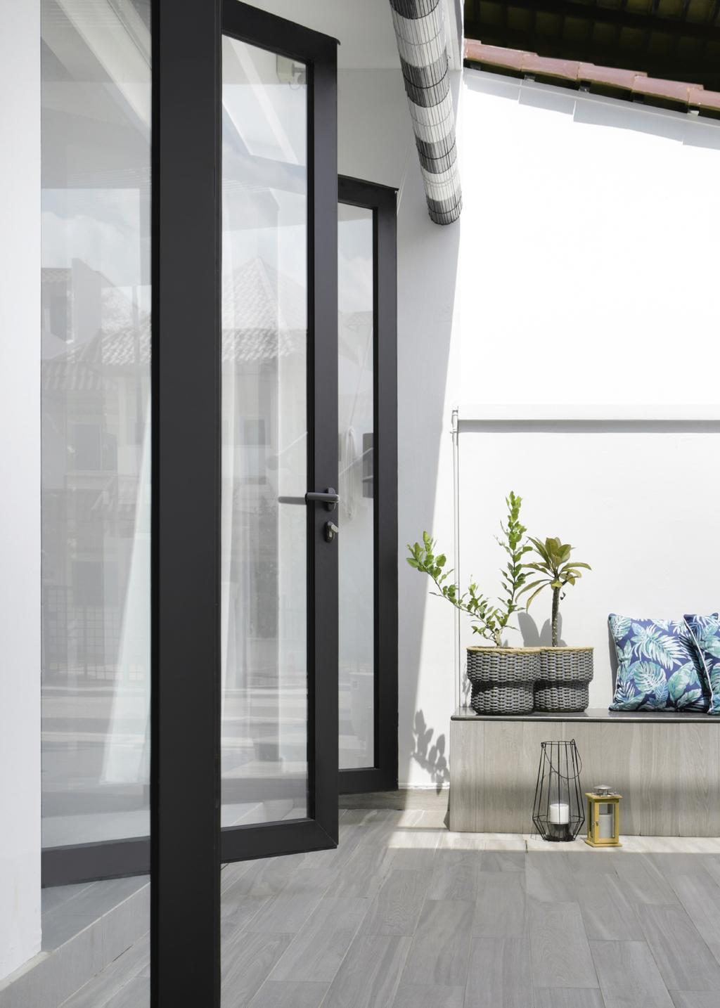 Modern, Landed, Garden, Taman Bedok, Interior Designer, The Design Abode, Door, Folding Door, Flora, Jar, Plant, Planter, Potted Plant, Pottery, Vase, Cushion, Home Decor