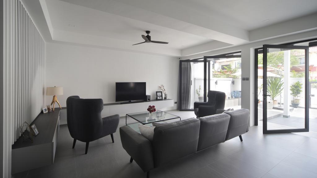Modern, Landed, Living Room, Taman Bedok, Interior Designer, The Design Abode, Chair, Furniture, Indoors, Room, Couch