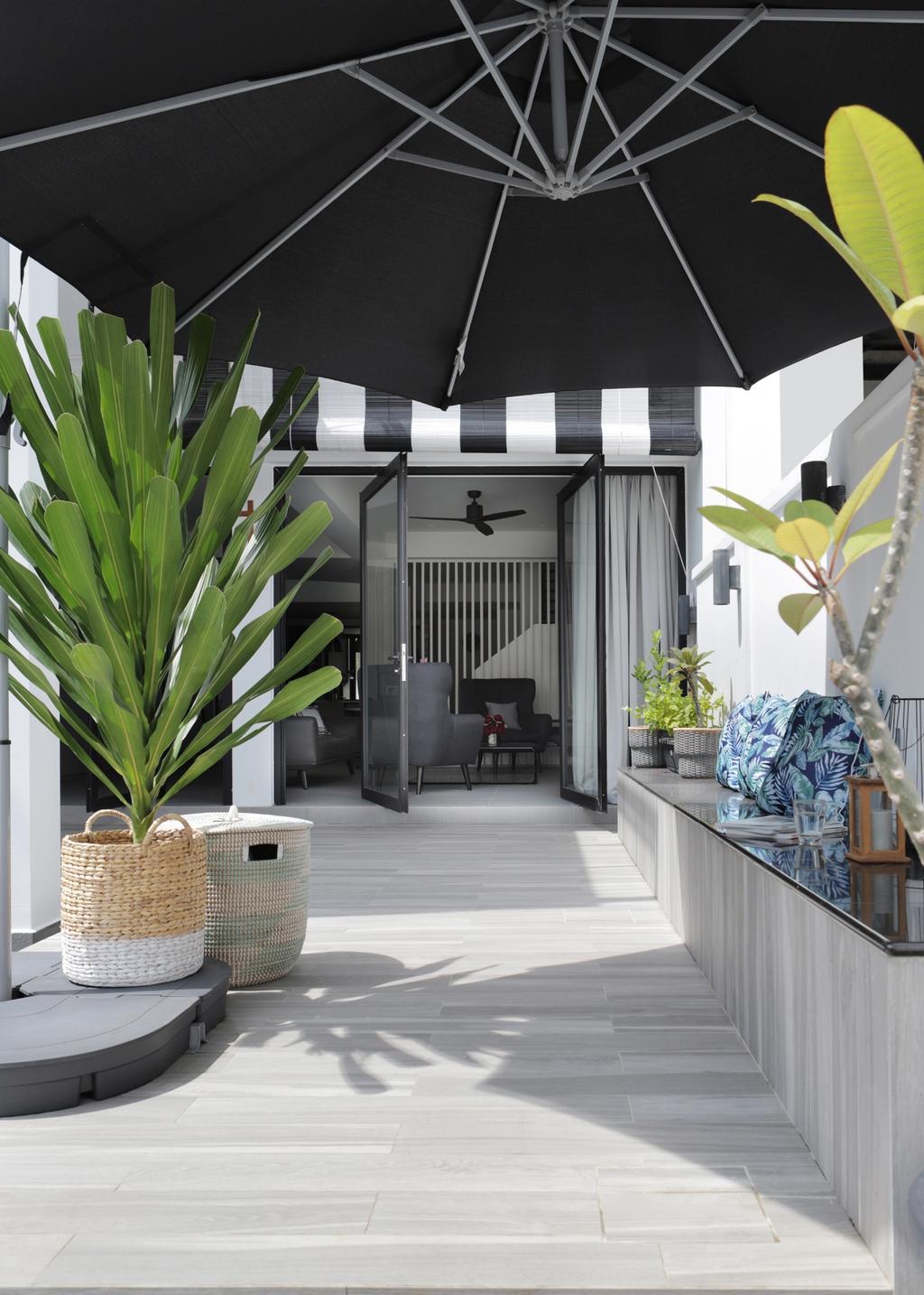 Modern, Landed, Garden, Taman Bedok, Interior Designer, The Design Abode, Flora, Jar, Plant, Potted Plant, Pottery, Vase, Planter, Building, House, Housing, Villa