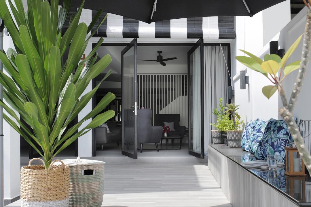 Taman Bedok, The Design Abode, Modern, Garden, Landed, Flora, Jar, Plant, Potted Plant, Pottery, Vase, Planter, Building, House, Housing, Villa