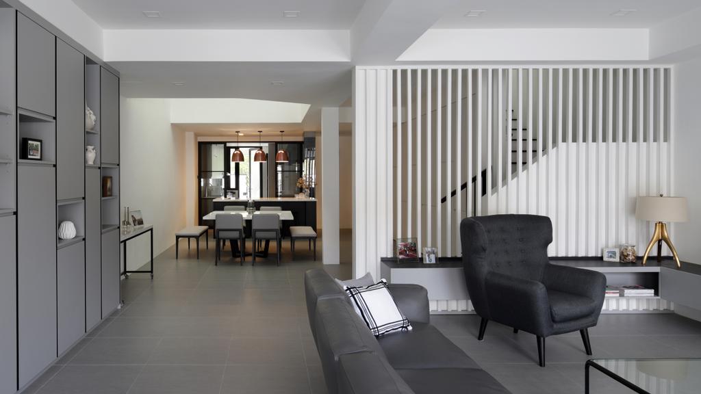 Modern, Landed, Living Room, Taman Bedok, Interior Designer, The Design Abode, Monochrome, Open, Stairs, Chair, Furniture, Dining Room, Indoors, Interior Design, Room