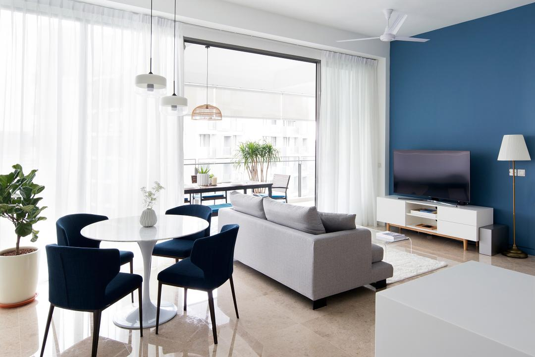 Tanjong Katong Road, The Design Abode, Contemporary, Living Room, Condo, Bright And Airy, Navy, Cobalt, Cerulean, Blue, Chair, Furniture, Dining Table, Table, Couch, Flora, Jar, Plant, Potted Plant, Pottery, Vase, Dining Room, Indoors, Interior Design, Room