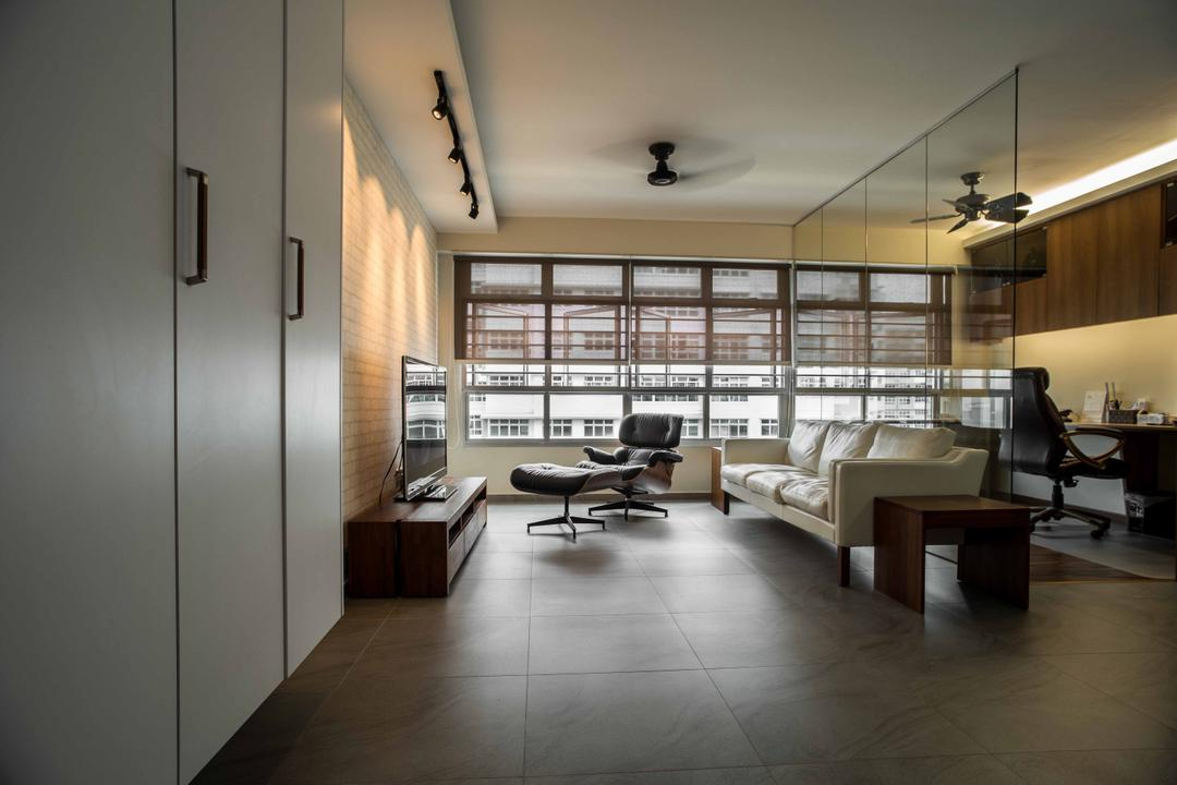 Punggol Place, Schemacraft, Contemporary, Living Room, HDB, Cupboard, Track Lights, Ceiling Fan, Blind, Sofa, Tiles, Mirror, Flooring