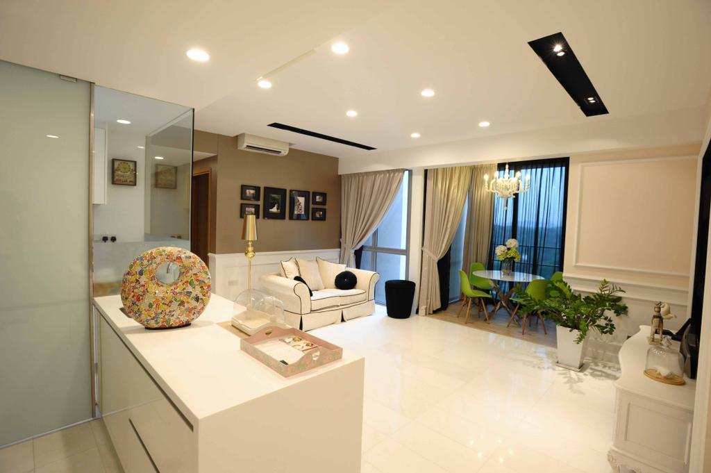 Vintage, Condo, Living Room, Vista Residences, Interior Designer, Schemacraft, White Modern, Curtain, Sofa, Plants, Island, Down Light, Track Light, Indoors, Interior Design