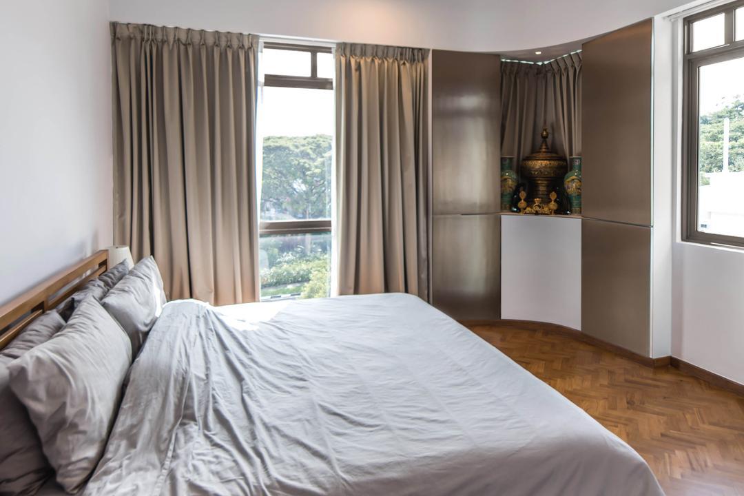 Jalan Loyang Besar, LLARK Architects, Contemporary, Transitional, Bedroom, Condo, Bed, Furniture, Altar, Architecture, Building, Indoors, Interior Design, Room