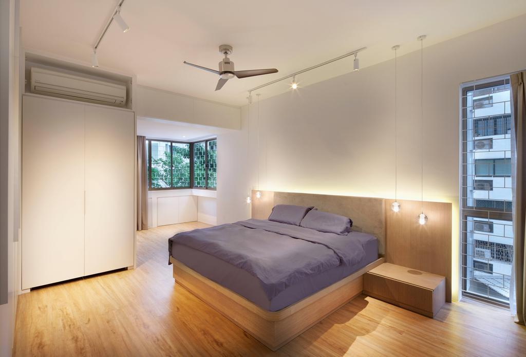 Scandinavian, Condo, Bedroom, Mandalay Road, Architect, LLARK Architects, Minimalistic, Light Fixture, Bed, Furniture, Window, Indoors, Interior Design, Room