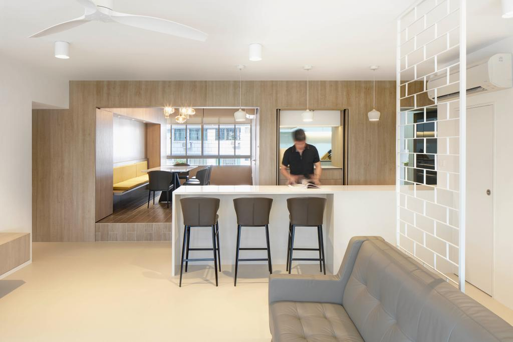 Scandinavian, Condo, Dining Room, Mandalay Road, Architect, LLARK Architects, Minimalist, Kitchen Island, Open Kitchen, Dry Kitchen, Chair, Furniture, Dining Table, Table, Indoors, Interior Design, Room